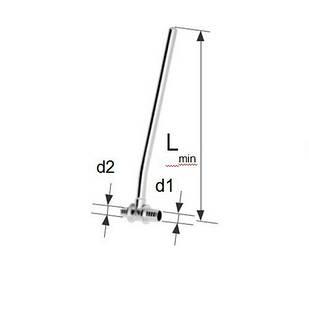 Отвод KAN-therm Push 14х2, L300 мм никель
