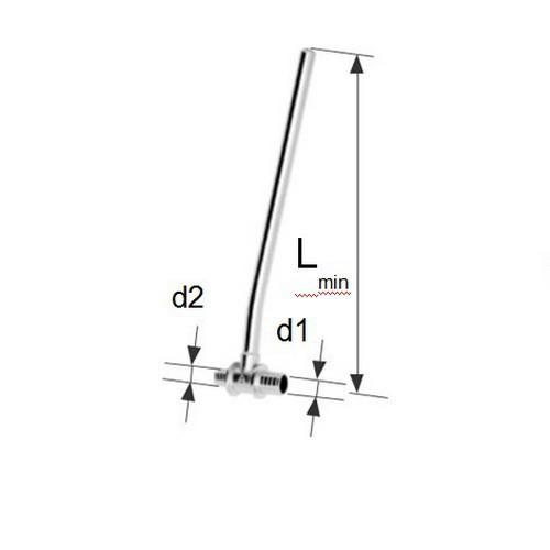 Отвод KAN-therm Push Г18х2, 5 L300 мм никель