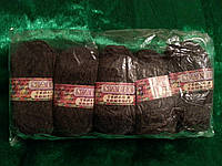 Пряжа овечья, ручное валяние, темно-серый, 100 грамм