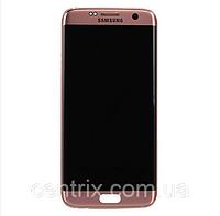 Дисплей (экран) для Samsung G935F Galaxy S7 Edge + тачскрин, цвет золотой, с передней панелью, оригинал