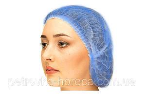 Одноразовая шапочка медицинская типа берет (Шарлотка)100шт Голубая