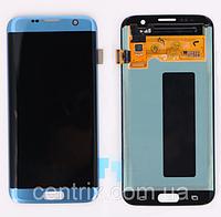 Дисплей (экран) для Samsung G935F Galaxy S7 Edge + тачскрин, цвет синий, Blue Coral, оригинал