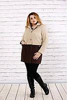 Женское осенее пальто из кашемира t0692 / размер 42-74 / цвет коричневый / большие размеры