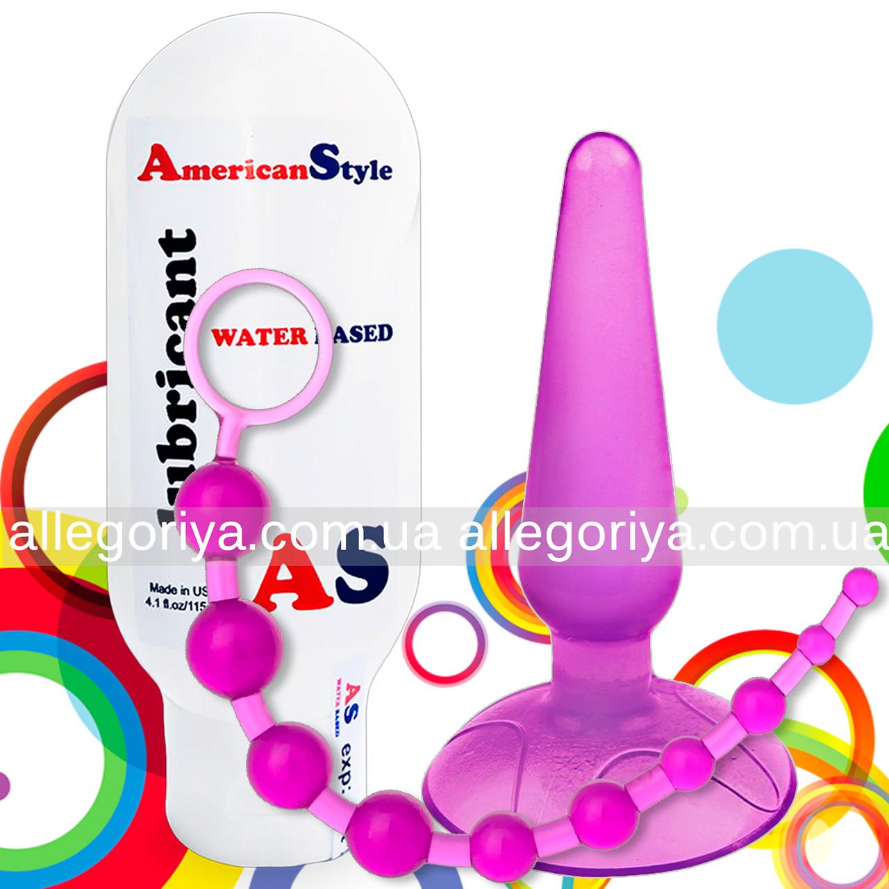 Анальный набор | Бусы цепочка + Пробка на присоске + Смазка с антисептиком