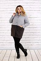 Женское осенее пальто из кашемира t0692 / размер 42-74 / цвет серый / большие размеры