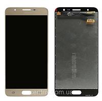 Дисплей (экран) для Samsung G610 Galaxy J7 Prime + тачскрин, цвет золотистый, оригинал