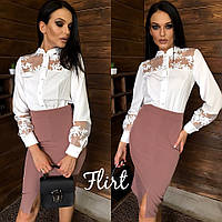 Блуза стильная красивая с кружевом и воротником стойкой разные цвета Bfl261