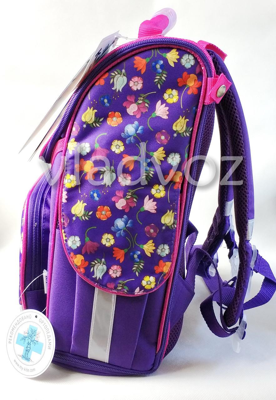Школьный каркасный рюкзак для девочек Pony фиолетовый вид с боку