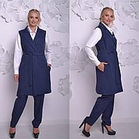 Женский брючный костюм с жилетом в больших размерах 6BR931, фото 1
