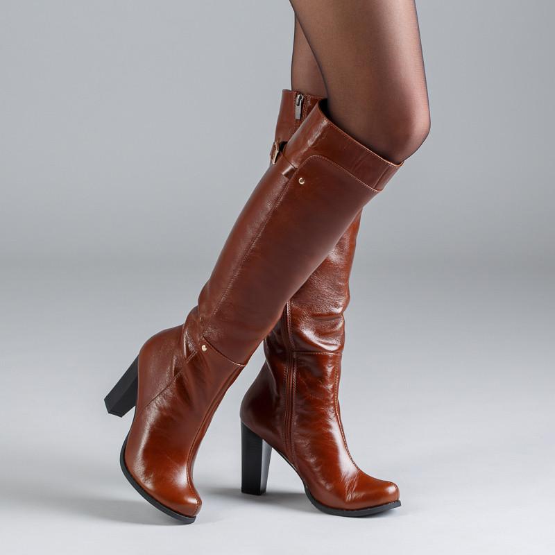 Женские кожаные сапоги на каблуке. Коньячный цвет. Индивидуальный пошив.  Цвет на выбор - d570f75c599