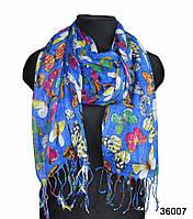 Синий льняной шарф, фото 1