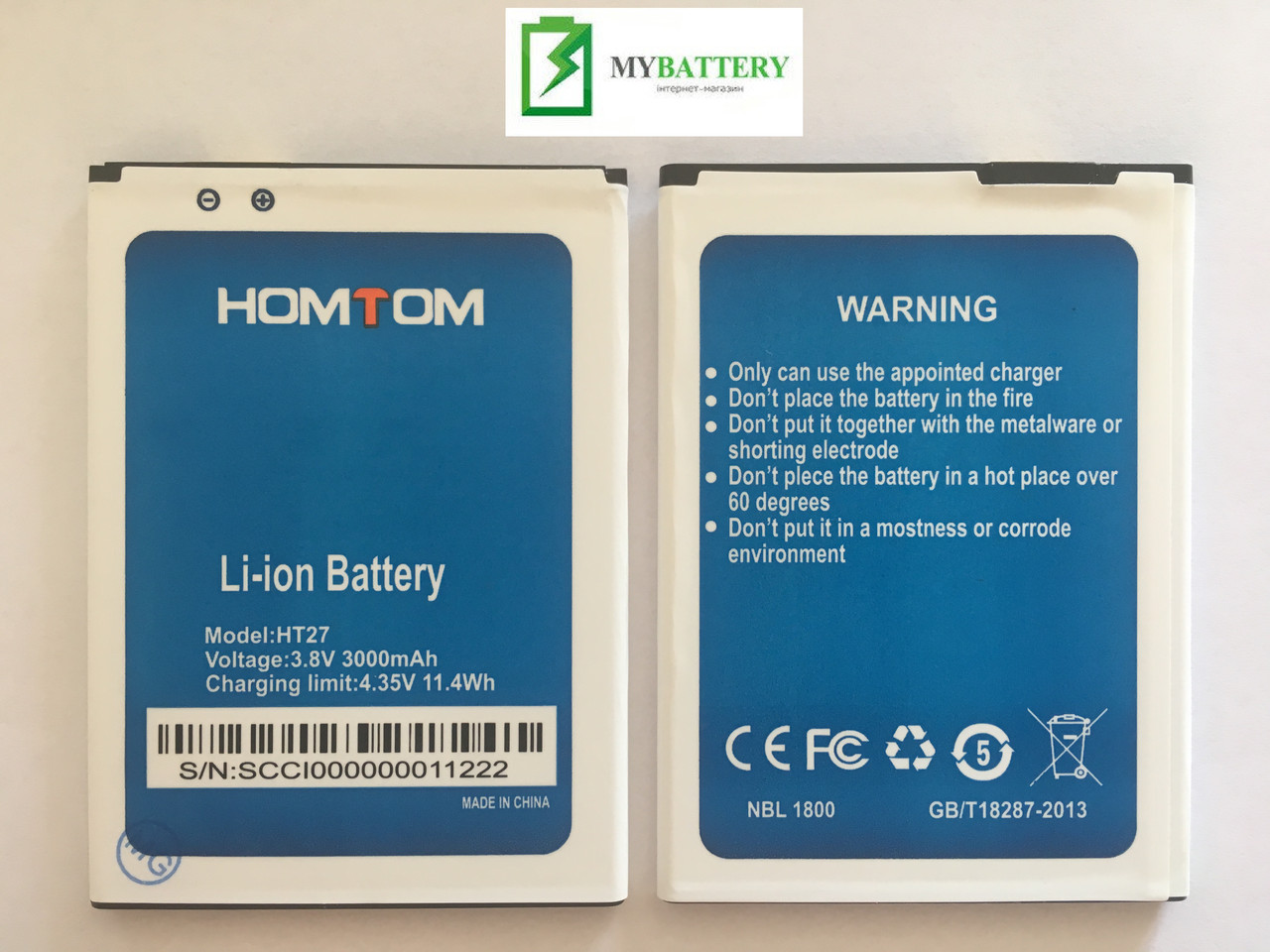 Оригинальный аккумулятор АКБ батарея Doogee HT27 HOMTOM  3.8V 3000 mAh