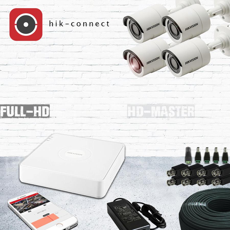 Комплект видеонаблюдения HD-TVI 4-х канальный 1080р Hikvision KIT19-уличный