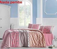 Двуспальное евро постельное белье Altinbasak Aleda Pink Ранфорс