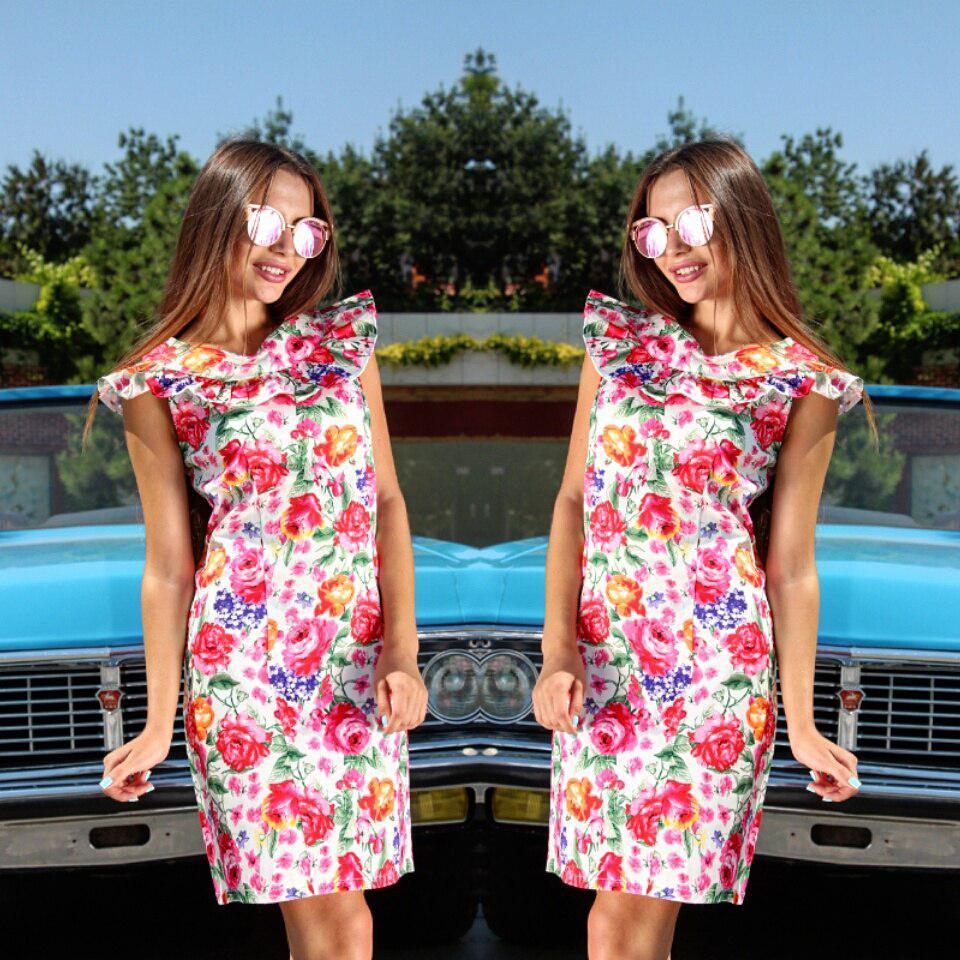 Платье с цветочным принтом, декорировано рюшами  код 208/1а