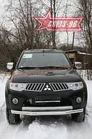 Защита переднего бампера d 76 (труба) Союз 96 на Mitsubishi Pajero Sport 2008-2012