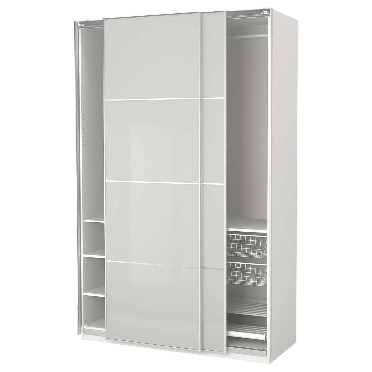 Шкаф-купе IKEA PAX 150x66x236 см Hokksund белый глянцевый светло-серый 092.211.39