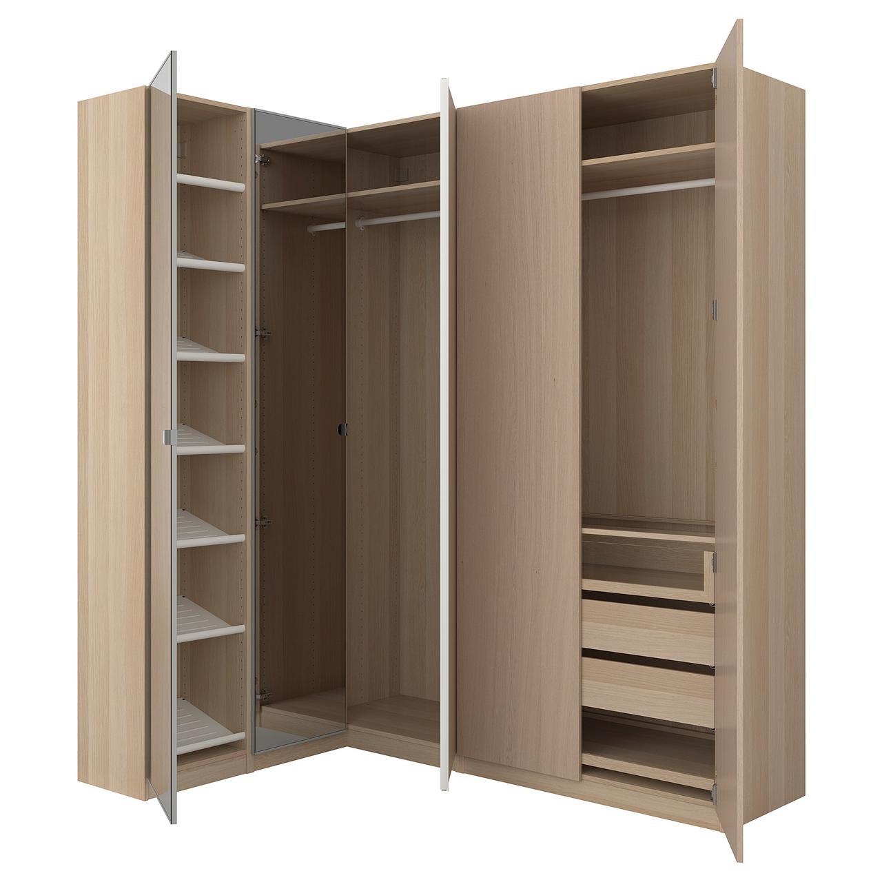 Угловой шкаф IKEA PAX 160/188x236 см Nexus Vikedal беленый дуб с зеркалом 292.179.33