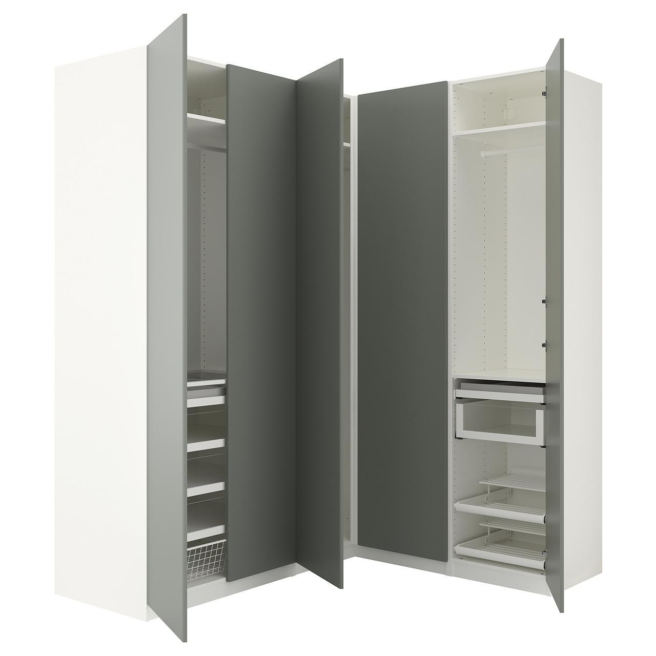 Угловой шкаф IKEA PAX 210/160x236 см Reinsvoll белый серо-зеленый 292.656.79