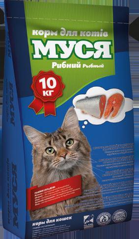 """Корм для кошек """"Муся"""" со вкусом рыбы, 10кг"""