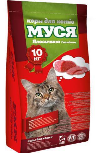 """Корм для кошек """"Муся"""" со вкусом говядины, 10кг"""