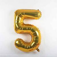 Шарик фольгированный цифра 5 золото 80 см 2016-4-48