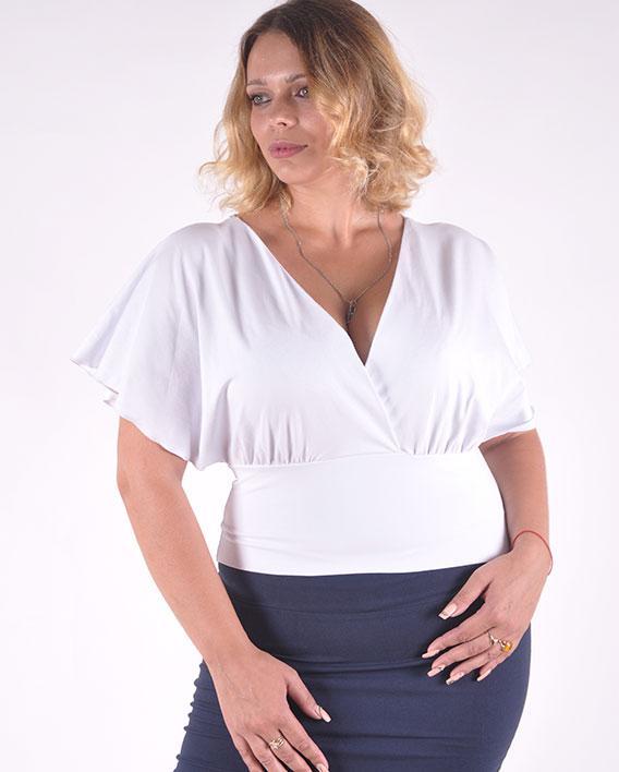 Женская футболка белая разлетайка размеры 40-46