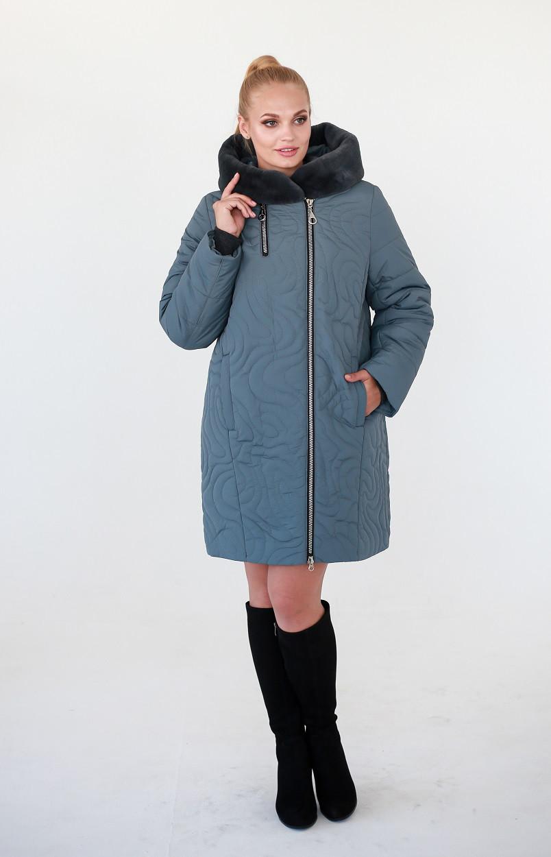 Куртка зимняя большого размера Зарина шалфей (52-58)