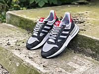 Кроссовки мужские в стиле Adidas ZX 500 RM код товара Z-1599. Темно-серые с белым