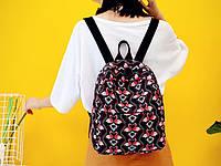 Черный модный рюкзак с фламинго