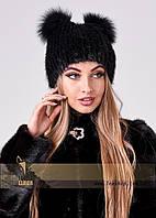 Женская меховая шапка с ушками черного цвета