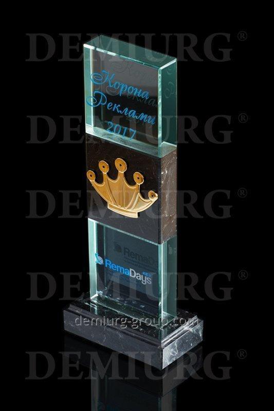 """Награда из стекла и мрамора """"Корона рекламы"""""""