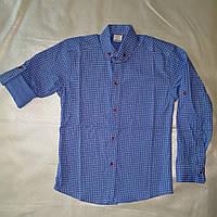 Стильная голубая рубашка для мальчика (стрейч, Турция)