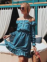 Женское джинсовое платье со спущенными плечами