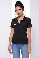 Стильная женская рубашка на пуговицах из стрейчевого поплина 7066/1, фото 1