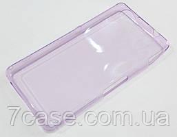 Чехол для Sony Xperia Z1 Compact D5503 силиконовый ультратонкий прозрачный фиолетовый