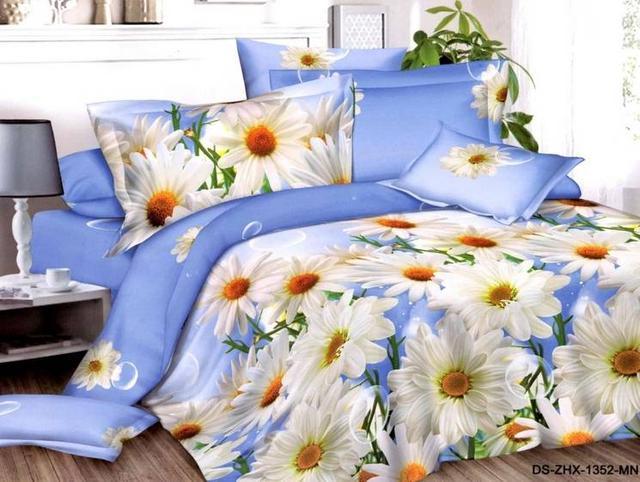 фотография постельное белье евро размер с белыми ромашками