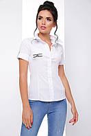 Стильная женская рубашка на пуговицах из стрейчевого поплина 7066/2, фото 1
