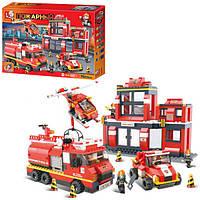 Конструктор SLUBAN M38-B0226 пожарня часть,машинки,фигурки,693 дет,в кор-ке,52-38-7,5см