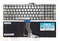 Оригинальная клавиатура для ноутбука HP Omen 15-ax, Pavilion 15-ab series, silver, ru, подсветка