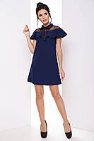 Актуальное офисное женское платье с воланом и отложным воротником 7067, фото 1