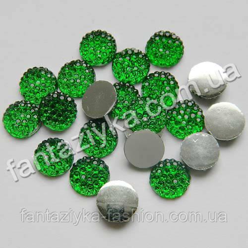 Камень круглый с пупырышками 8мм, зеленый