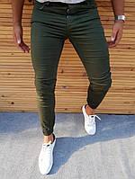 Мужские джинсы зауженные ZARA темно зеленые