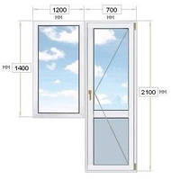 Балконный блок: дверь 700х2100, окно 1200х1400,Vigrand Luxury