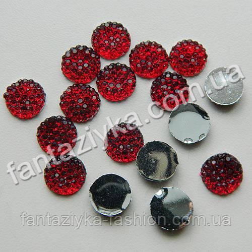 Камень круглый с пупырышками 8мм, темно-красный