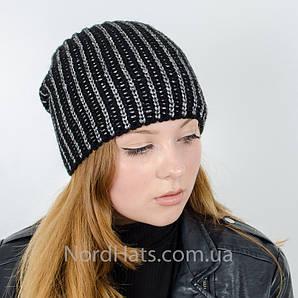 """Вязаная женская шапка, """"Стелла"""" (Черный)"""