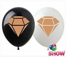 """Воздушные шары """"Алмаз золотая краска"""" 12""""(30 см) В упак: 100шт ТМ Арт «SHOW»"""