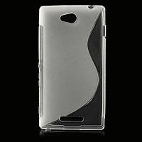 Чехол Wave для телефона Sony Xperia C S39h C2305. Прозрачный. Бампер. Накладка