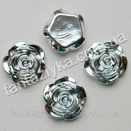 Серединка с гальваническим покрытием, Роза серебряная 16мм