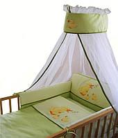 """Комплект постельный """"Поющие утята"""" (7эл)120х60,балд.-вуаль 3м, желто-зеленый(короткий охранник)"""